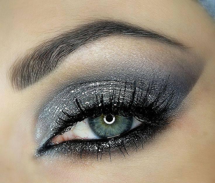 açık gri simli göz makyajı modelleri