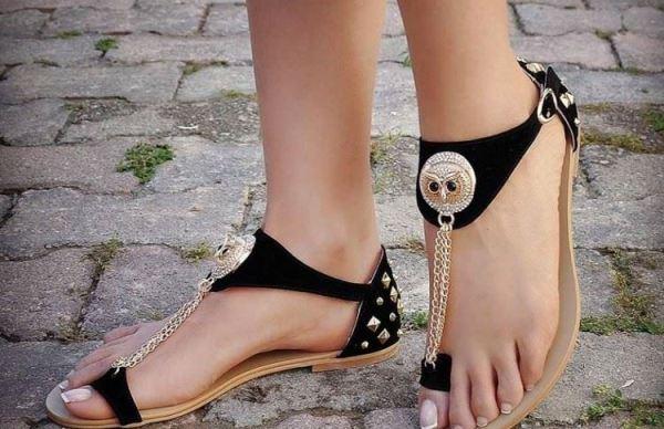 baykuş figürlü şık parmak arası ayakkabı modelleri