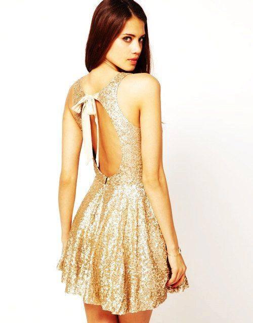 golden mini şık gece elbise modelleri