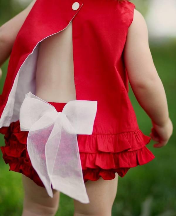 modern kırmızı bebek elbisesi modelleri