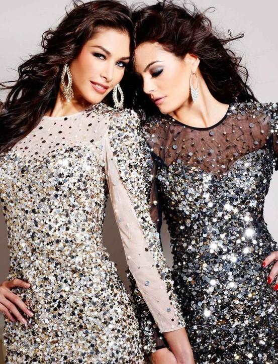 parlak pullu gece elbise modelleri