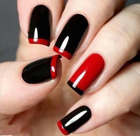 parlak siyah ve kırmızı tırnak süsleme modelleri