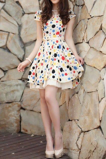 renkli puanlı hoş elbise modelleri