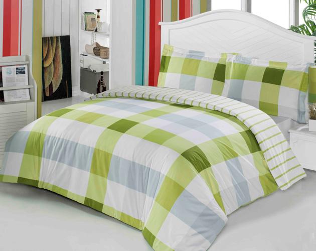 yeşil şık ekose desenli uyku seti modelleri