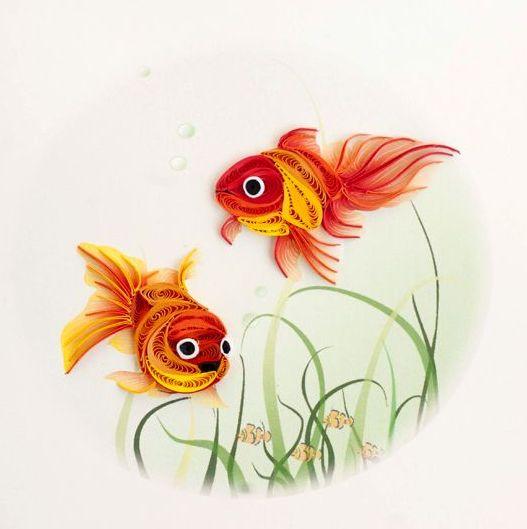 çift balık figürlü modern duvar süsü modelleri