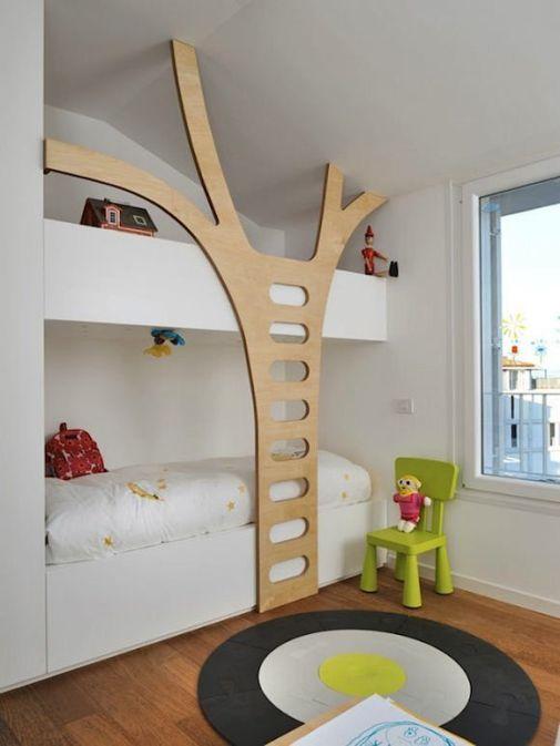 ağaç dalı figürlü modern çocuk ranzaları
