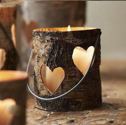 ahşap kalp figürlü mumluk modası