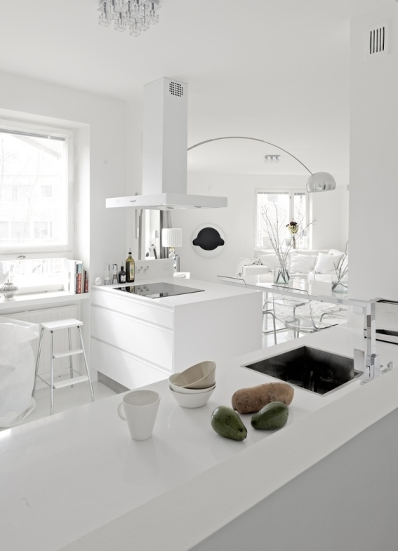 beyaz tonlar kullanılmış mutfak dizayn örnekleri