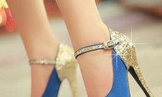 Altın Renklerde Şık Bayan Ayakkabılar