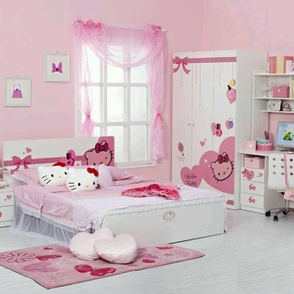 hello kity figürlü çok sevimli kız çocuk odası detayları