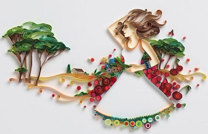 kız figürlü modern duvar süsü stilleri