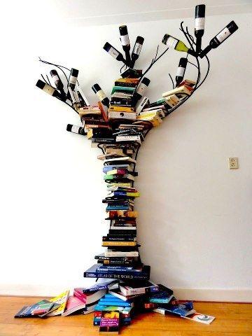 kurumuş ağaç şeklinde kitaplık tasarımları