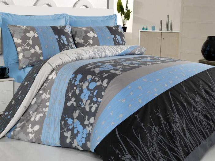 mavi çiçek desenli modern nevresim takımı modası