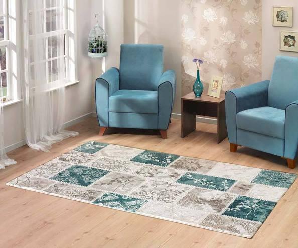 mavi zarif desenli modern halı tasarımları