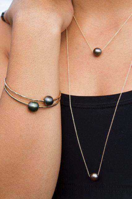 siyah incili sade inci kolye tasarımları