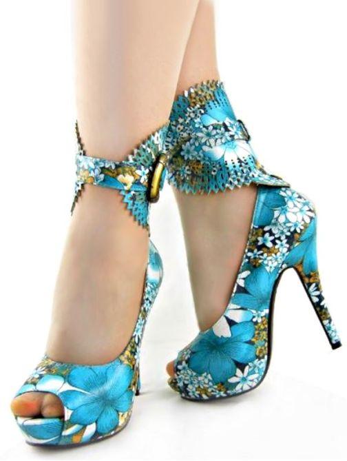turkuaz renkte bilekten şık bağcıklı platform ayakkabılar