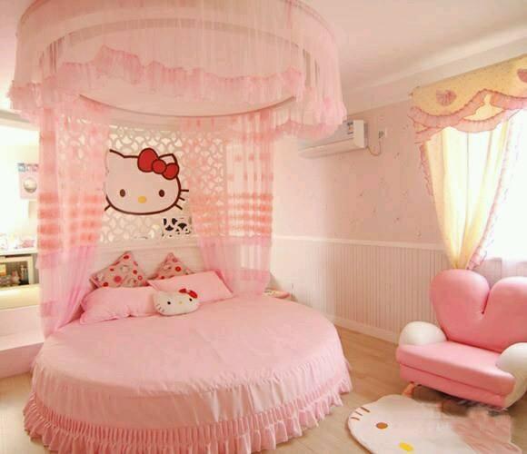yuvarlak yatak ile dizayn edilmiş kız çocuk odası modası