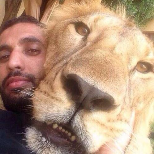 Aslan ile poz veren adam