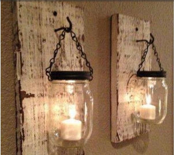Cam kavanozlar ile dekoratif duvar süsü