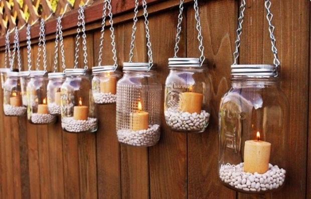 Cam kavanozlar ile dekoratif mumluk yapılışı