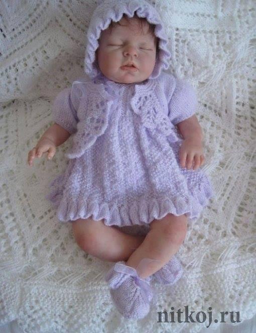 Şirin örgü bebek elbisesi ve beresi