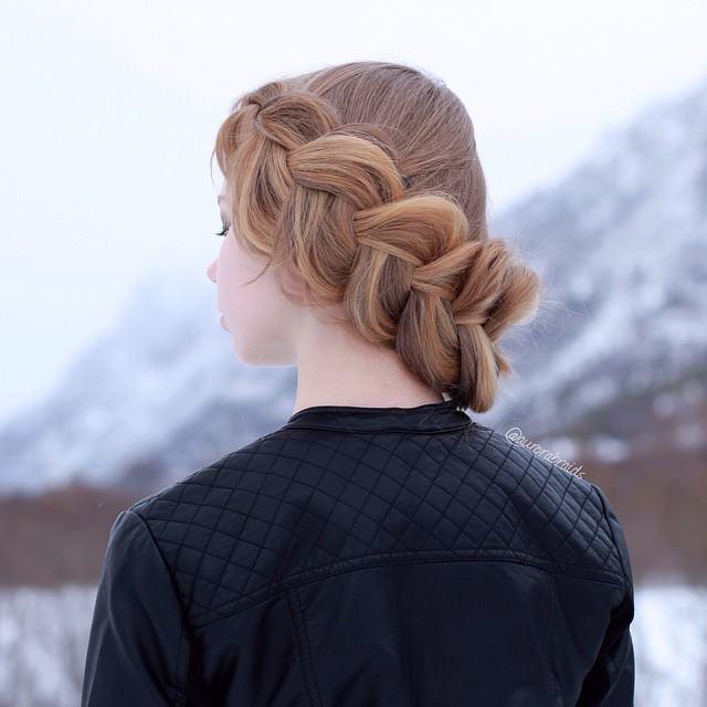 Saç örgüsü ile topuz modelleri