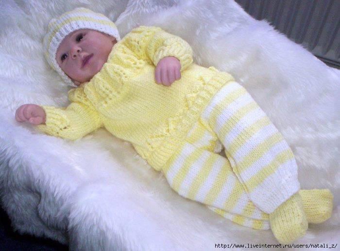 Sarı beyaz örgü bebek takımı modelleri