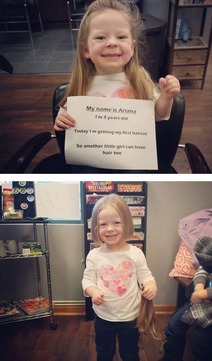 17 Kanser tedavisi gören bir çocuğa saçlarını kesip gönderen çocuk