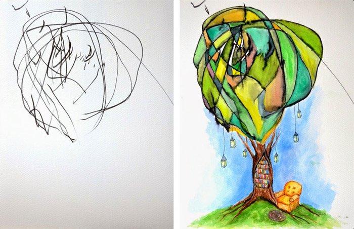 3 Sanatçı anneden kızının resimlerine inanılmaz dokunuşlar