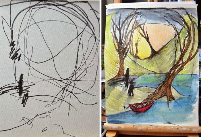 6 Karalama kağıtları sanat eserine dönüştüren anne