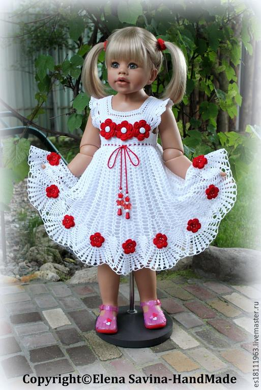 Beyaz çiçekli örgü kız çocuk elbisesi