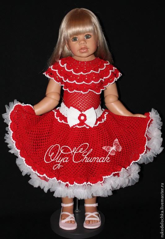 Kırmızı beyaz örgü kız çocuk elbisesi