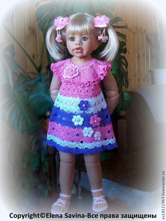 Renkli fırfırlı örgü kız çocuk elbisesi